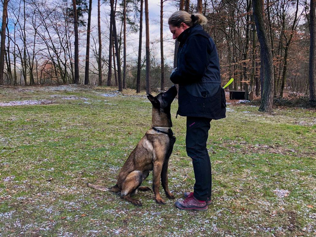 Hundeführerin Corinna Hille mit Sprengstoffspürhund Wotan