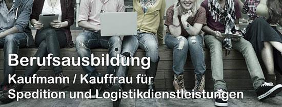 """Bild mit Gruppe Jugendlicher und Text """"Berufsausbildung Kaufmann / Kauffrau für Spedition und Logistikdienstleistungen"""""""