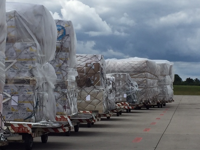 Hilfsgüter für Mosul fertig verpackt